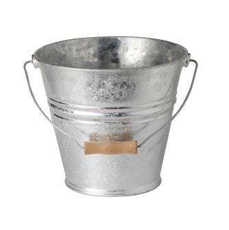 Seau galvanisé 10 litres avec anse bois