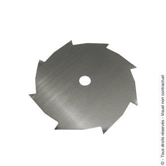 Lame de débroussailleuse 250 mm axe 25,4 mm 8 dents fabriquée en France