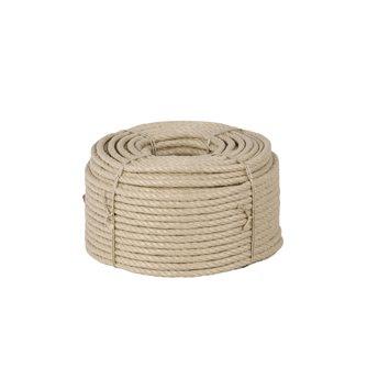 Corde chanvre synthétique polypropylène texturé havane 10 mm par 100 m pour déco gréement rampe