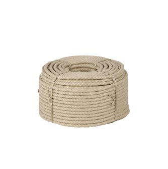 Corde chanvre synthétique polypropylène texturé havane 6 mm par 100 m pour déco gréement rampe